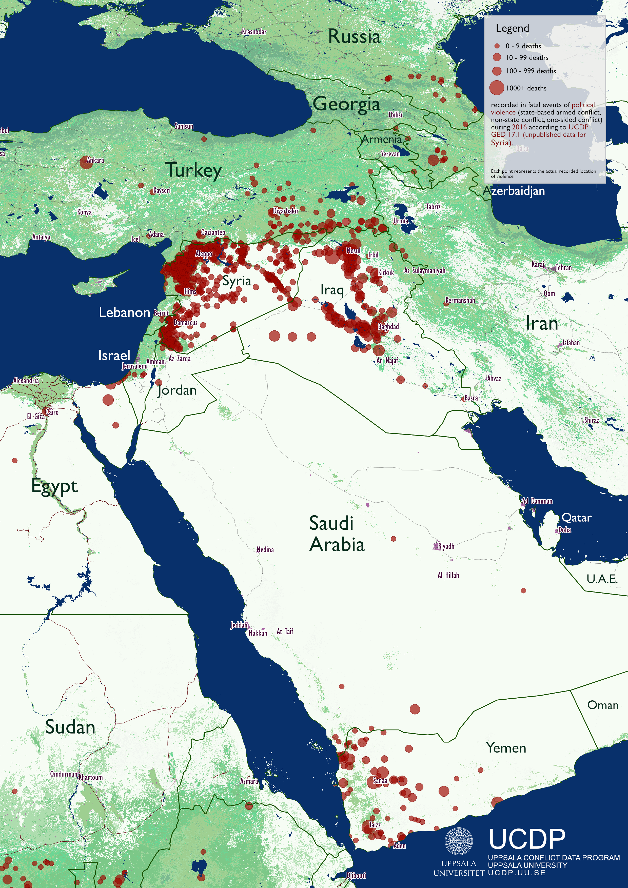 Charts graphs and maps department of peace and conflict research map of the worlds conflicts in 2016 ucdp ged map middle east 2016 gumiabroncs Gallery