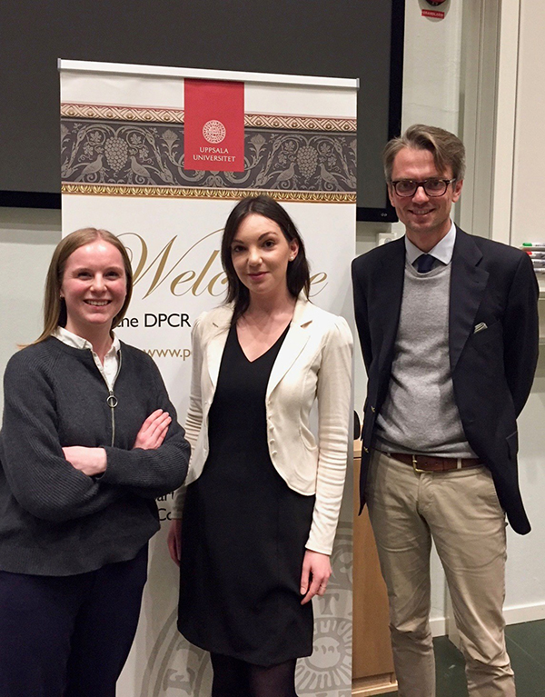 Mikaela Westien (President, Political Science Alumni Assoc.), Charlotte Grech-Madin (President, DPCR Alumni Assoc.), and Ambassador Tobias Thyberg