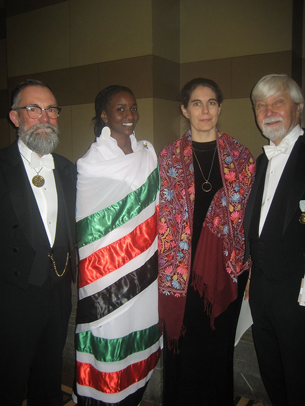 Chief Librarian Lars Burman, Rotary Peace Fellow Afaf Doleeb,  Assistant Professor Patricia Lorenzoni, and Professor Peter Wallensteen